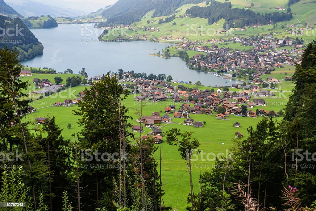 Panoramic view of Grindelwald Village, Switzerland stock photo