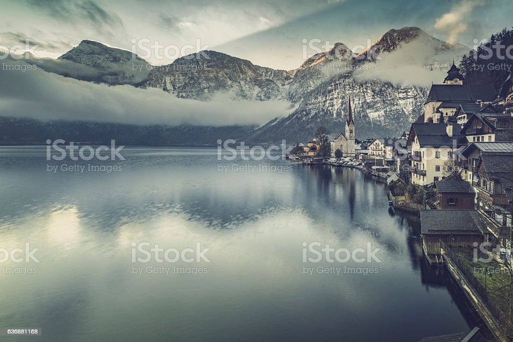 Panoramic view of Hallstatt sun dawn stock photo