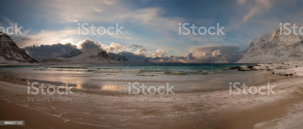 Panoramic view of Haukland Beach stock photo