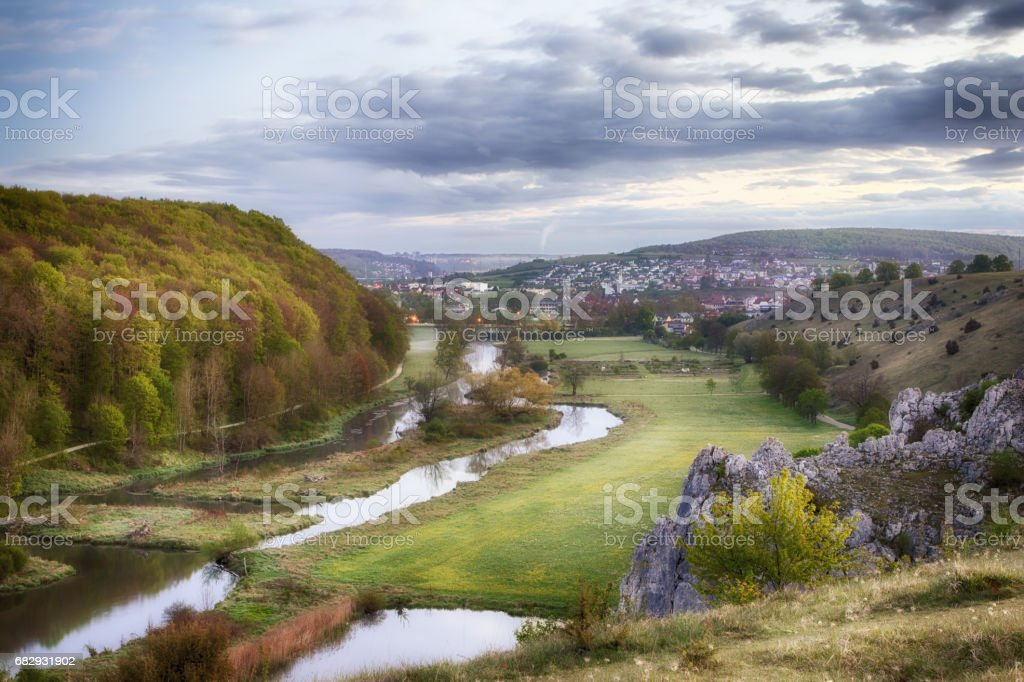 Panoramic view of Herbrechtingen and the river Brenz at early morning stock photo
