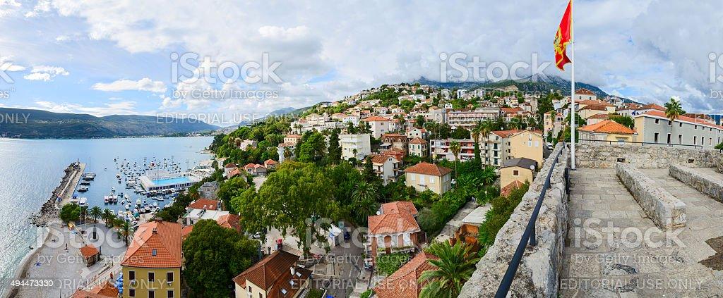 Panoramic view of Herceg Novi, Montenegro stock photo