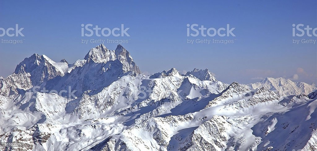 Panoramic view of high mountains. royalty-free stock photo