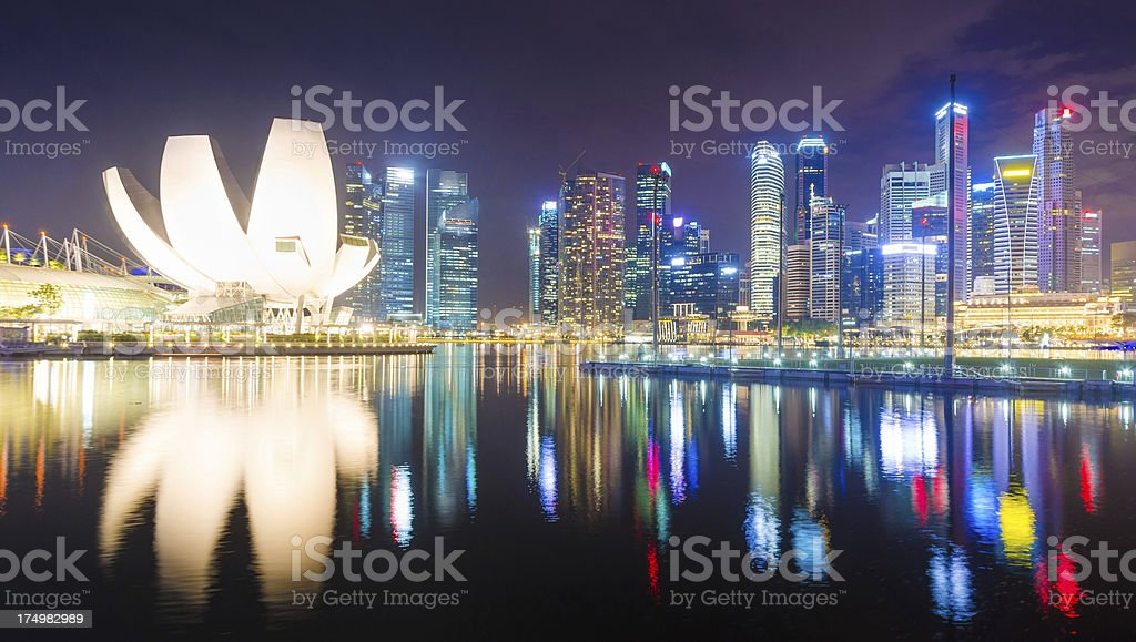 Panoramic view of  High rise buildings in singapore at night stock photo