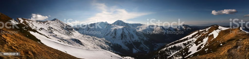 Panoramic view of high western tatra mountain. stock photo