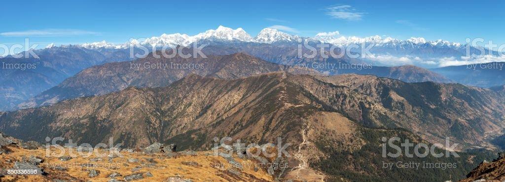Panoramic view of himalaya range from Pikey peak stock photo