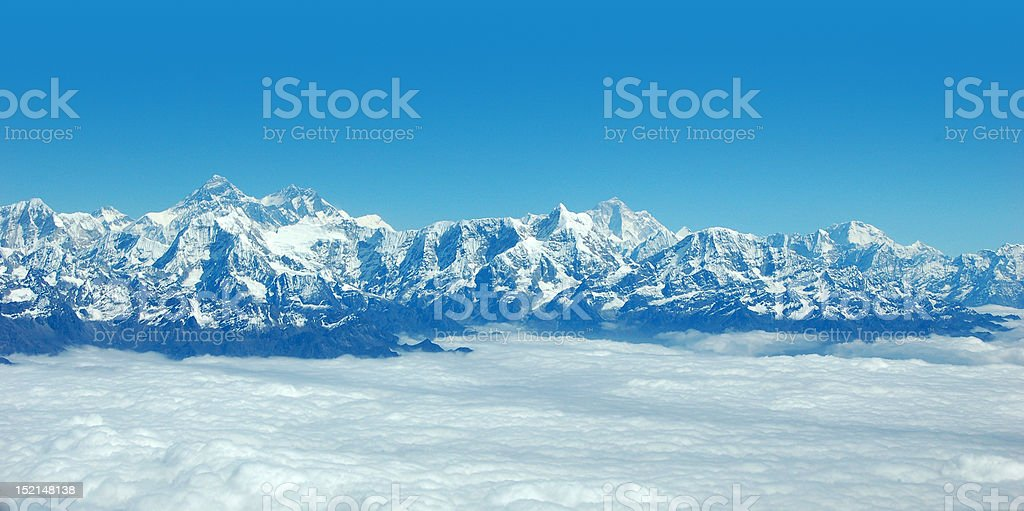 Panoramic view of Himalayas and Mount Everest royalty-free stock photo