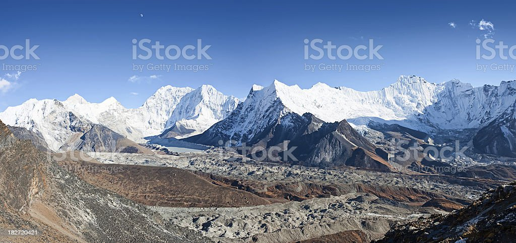 Panoramic view of Himalayas, Mt Makalu on the left side stock photo
