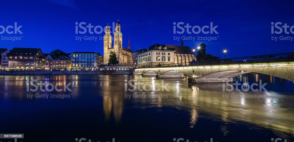 Panoramic view of historic Zurich city center stock photo