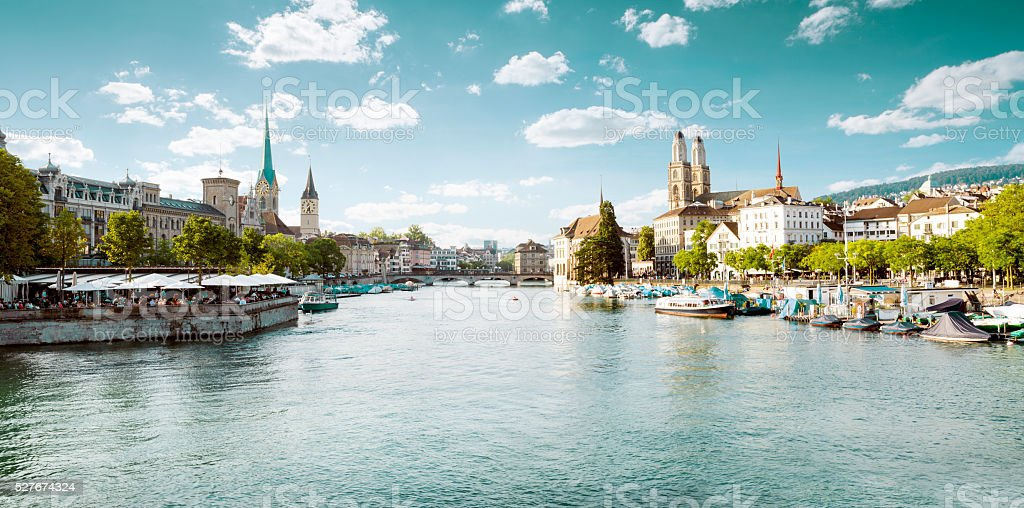 Panoramic view of historic Zurich city center with famous Fraumu stock photo