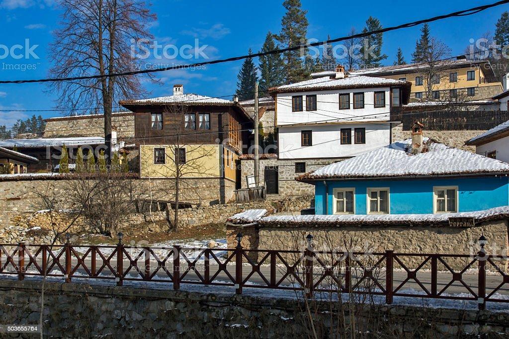 Panoramic View of historical town of Koprivshtitsa, Sofia Region stock photo