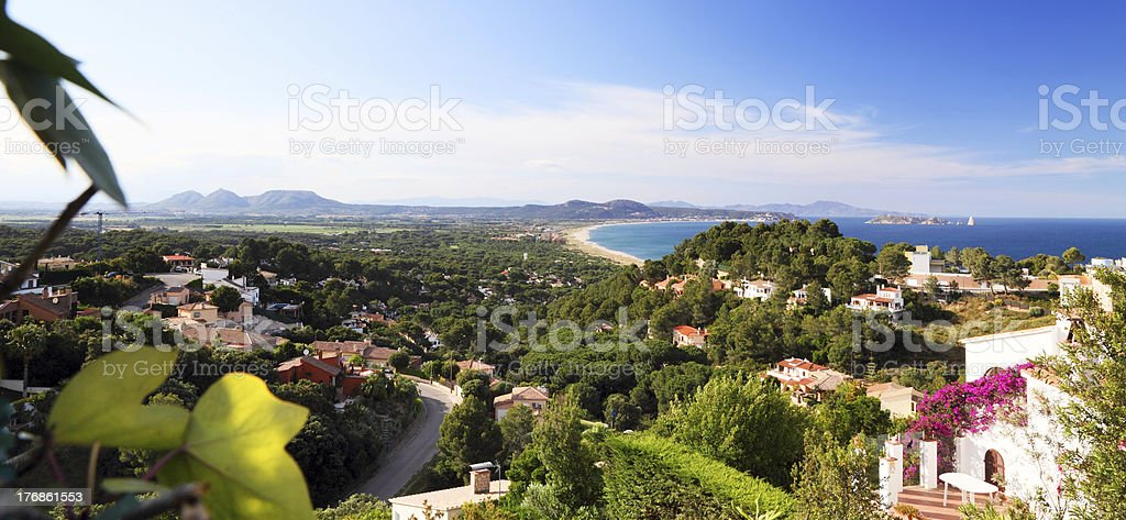 Panoramic view of holiday villas near the sea royalty-free stock photo