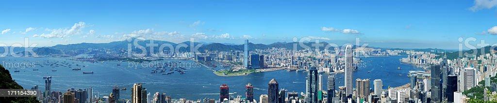 Panoramic view of Hong Kong at day stock photo