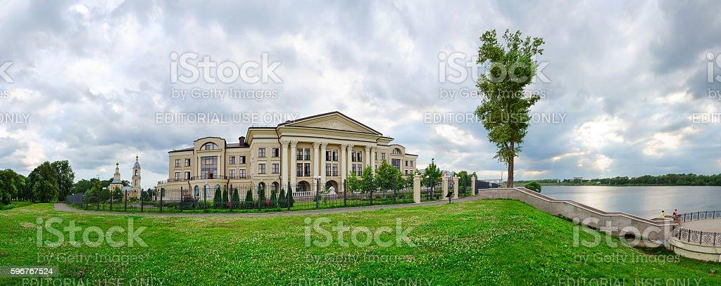 Panoramic view of hotel Volzhskaya Riviera and Volga, Uglich, Russia stock photo