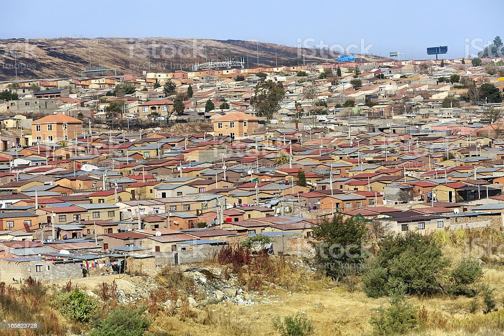 Panoramic view of houses in Alexandra Township, Johannesburg stock photo