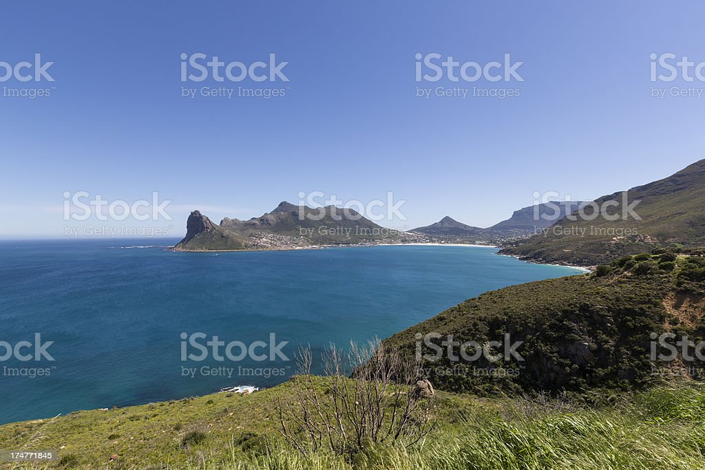 Panoramic view of Hout Bay from Chapman's Peak, South Africa stock photo