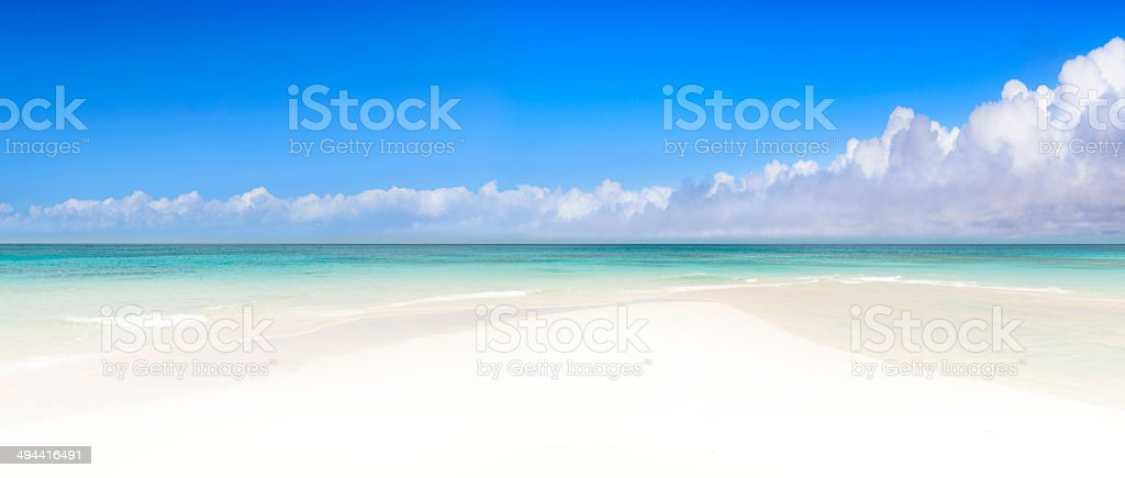 Panoramic View of Idyllic Tropical Beach stock photo