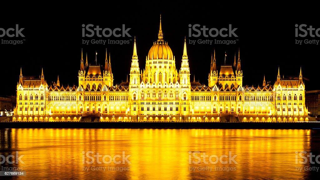 Panoramic view of illuminated Hungarian Parliament on Danube River Embankment stock photo