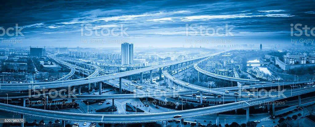 panoramic view of interchange overpass bridge stock photo
