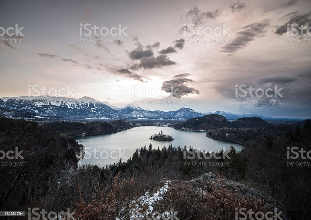 Panoramic view of island with church.Lake Bled stock photo