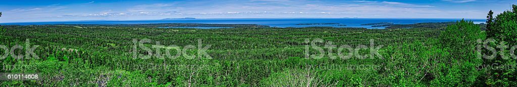 Panoramic view of Isle Royale National Park, Michigan, USA stock photo