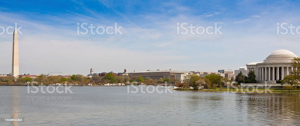 Panoramic view of Jefferson and Washington Monuments. royalty-free stock photo