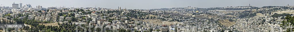 Panoramic View of Jerusalem Old City royalty-free stock photo
