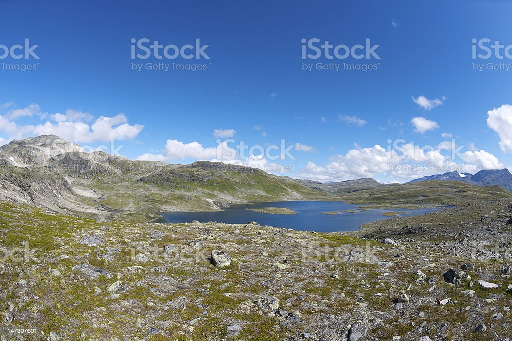 Panoramic view of Jotunheimen National Park in August stock photo