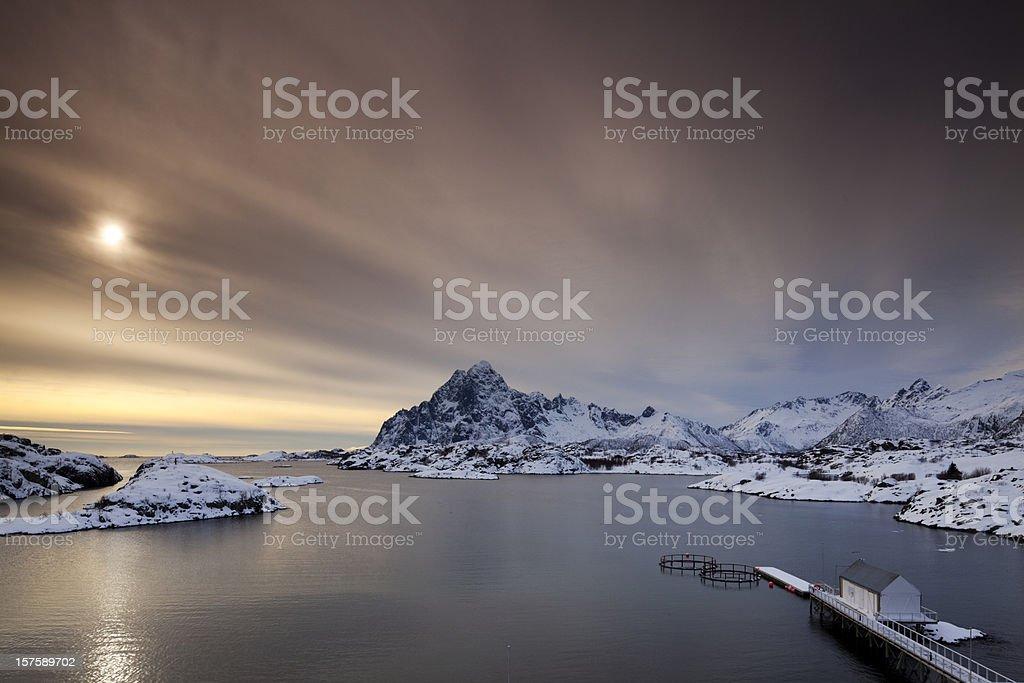 Panoramic view of Kabelvag, Lofoten stock photo