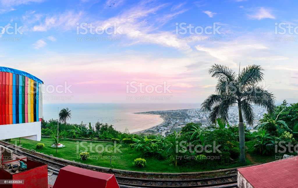 Panoramic View of Kailasagiri Hill overlooking Vizag City and Beach stock photo