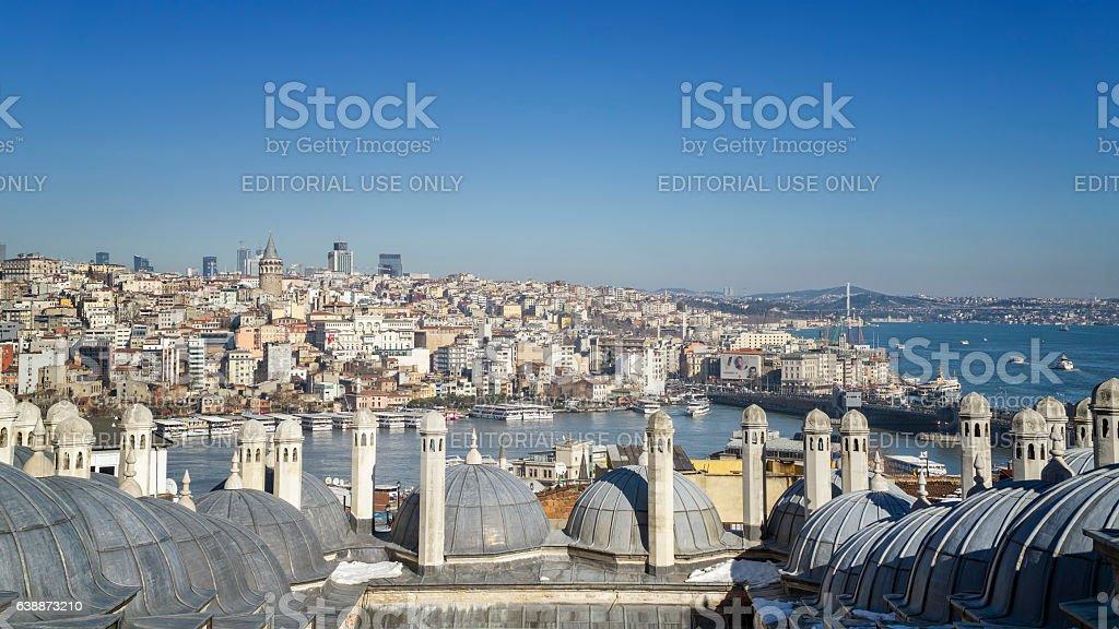 Panoramic View Of Karakoy And Bosphorus, Istanbul, Turkey stock photo