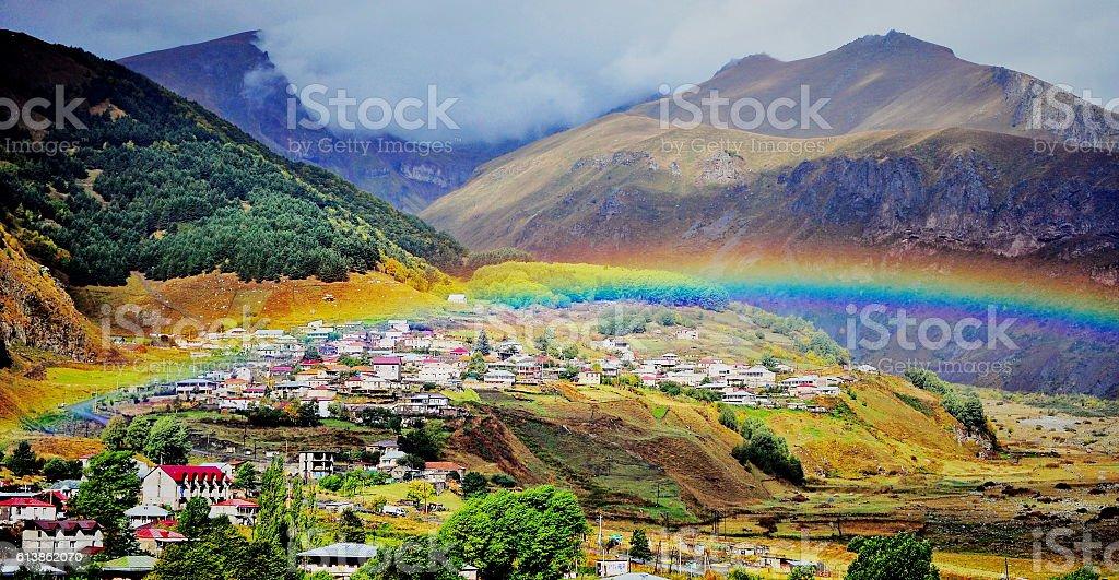 Panoramic view of  Kazbegi town stock photo