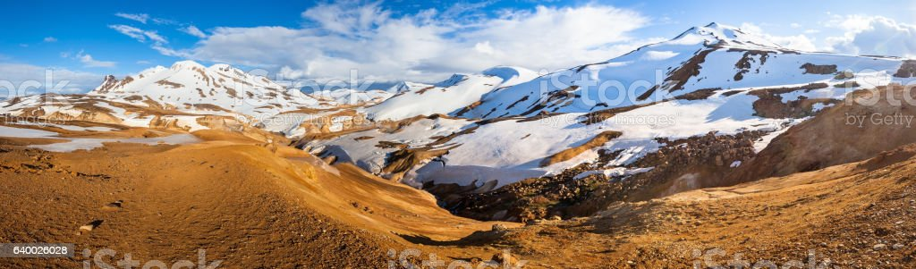 Panoramic view of Kerlingarfjoll mountain with snow in icelandic stock photo
