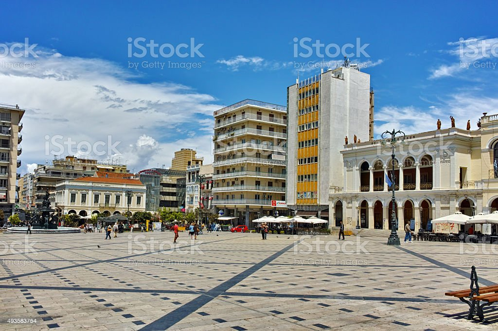 Panoramic view of King George I Square in Patras, Peloponnese stock photo