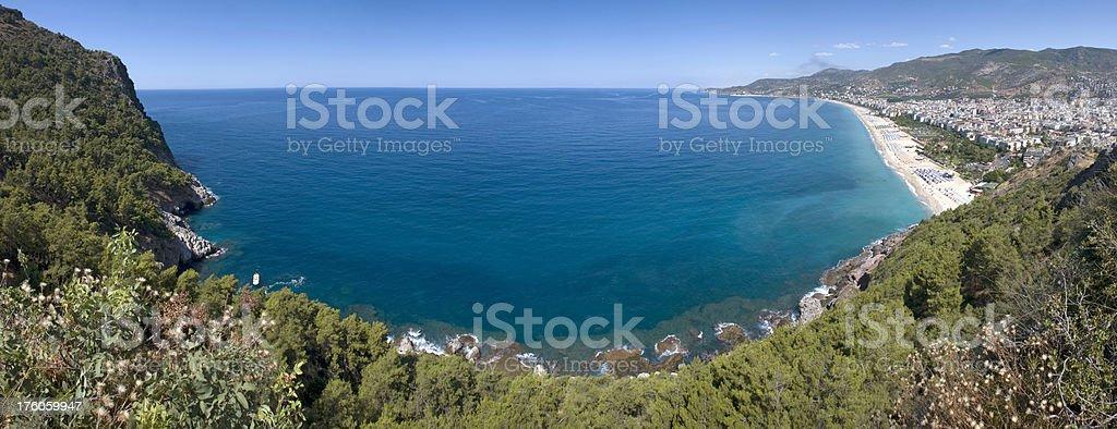 Panoramic view of Kleopatra Beach and Alanya royalty-free stock photo
