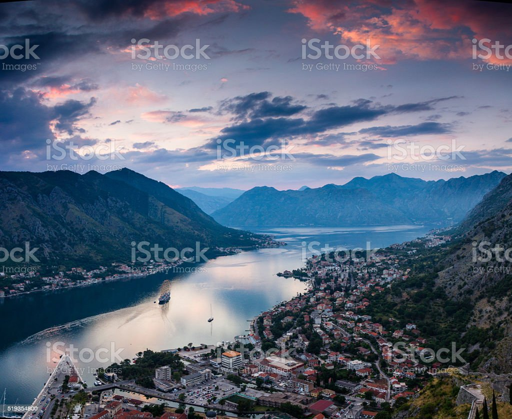 Panoramic view of Kotor bay at sunset. Montenegro. stock photo