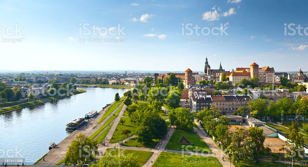 Panoramic view of Krakow, Poland from Wawel Castle stock photo