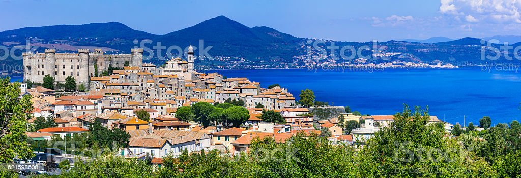 Panoramic view of Lago di Bracciano. Italy, Lazio stock photo