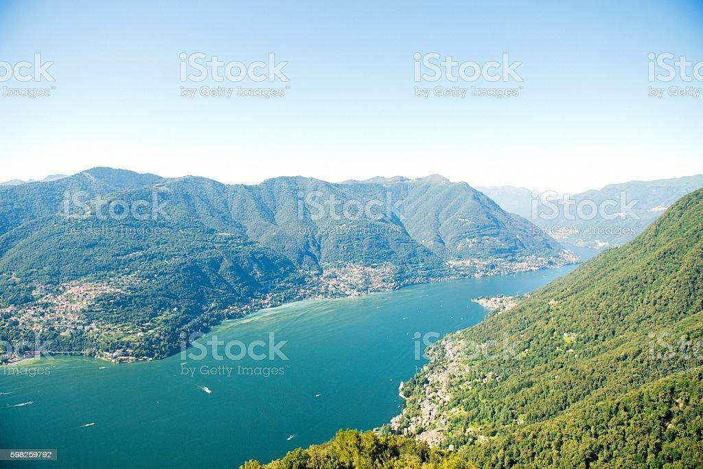 Panoramic view of Lago di Como stock photo