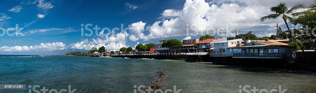Panoramic view of Lahaina's Front street, Maui, Hawaii stock photo