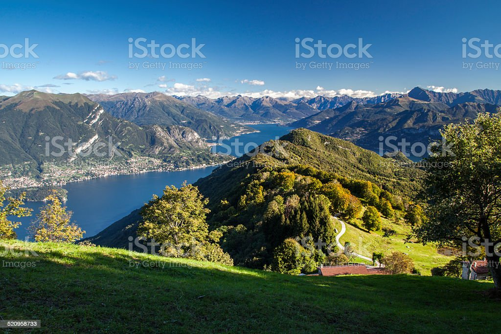 Panoramic view of Lake Como from the mountains above Bellagio stock photo