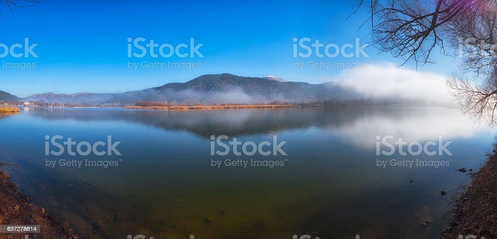 Panoramic view of Lake Golcuk stock photo