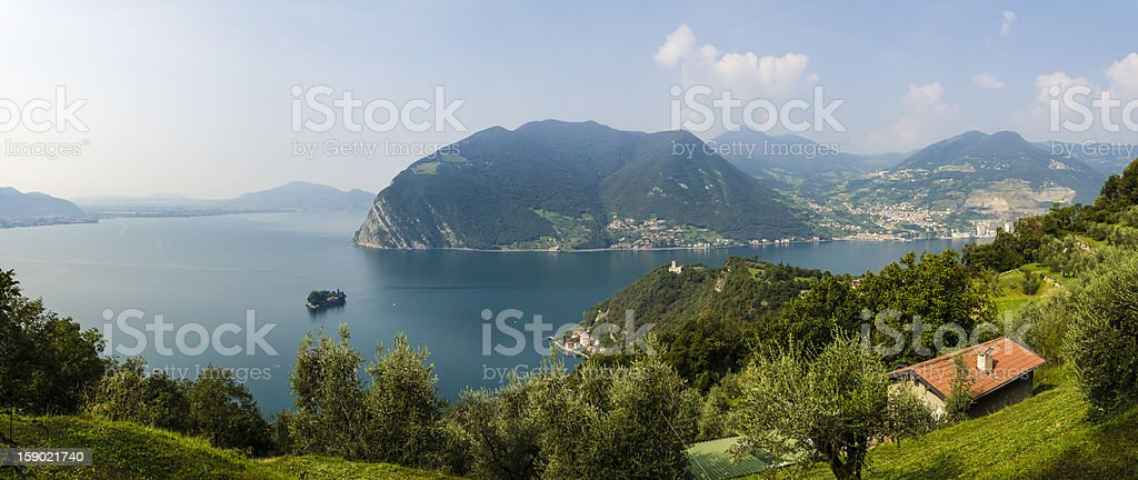 panoramic view of lake Iseo from Monte Isola, Italy stock photo