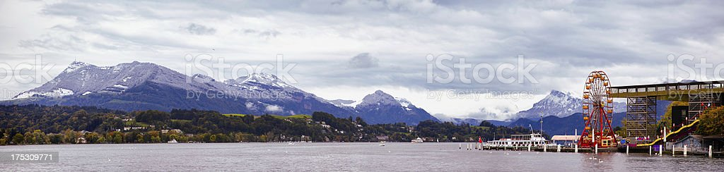 Panoramic view of Lake Lucerne royalty-free stock photo