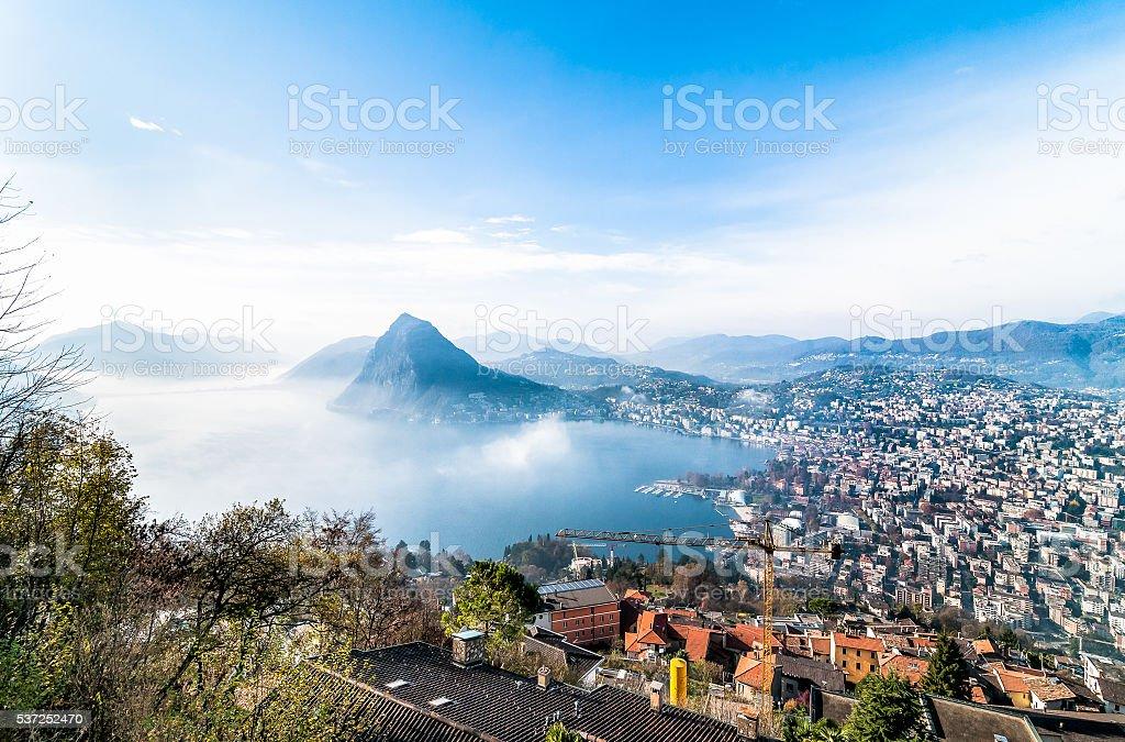 Panoramic view of Lake Lugano, Switzerland stock photo