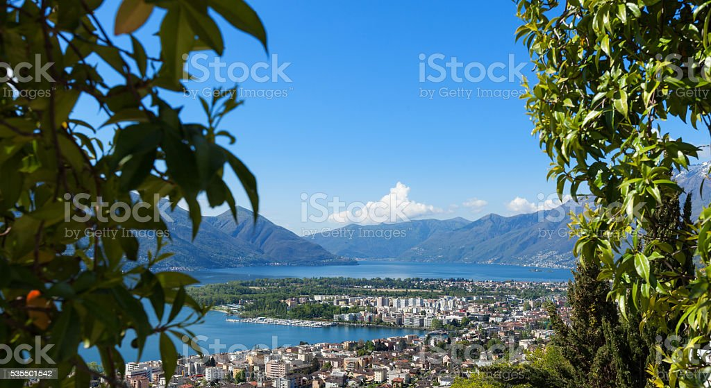 Panoramic view of Lake Maggiore stock photo