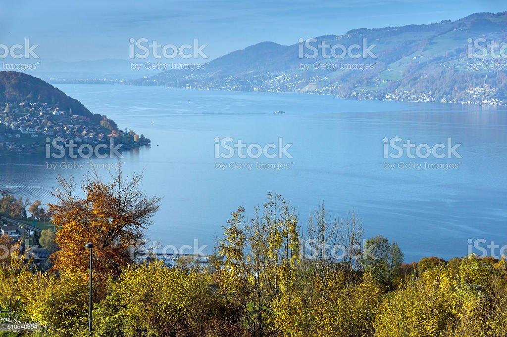 Panoramic view of Lake Thun, Switzerland stock photo