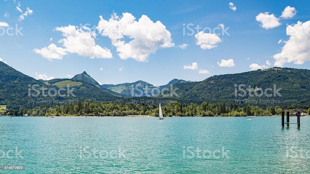 Panoramic view of lake Wolfgangsee, Austria stock photo