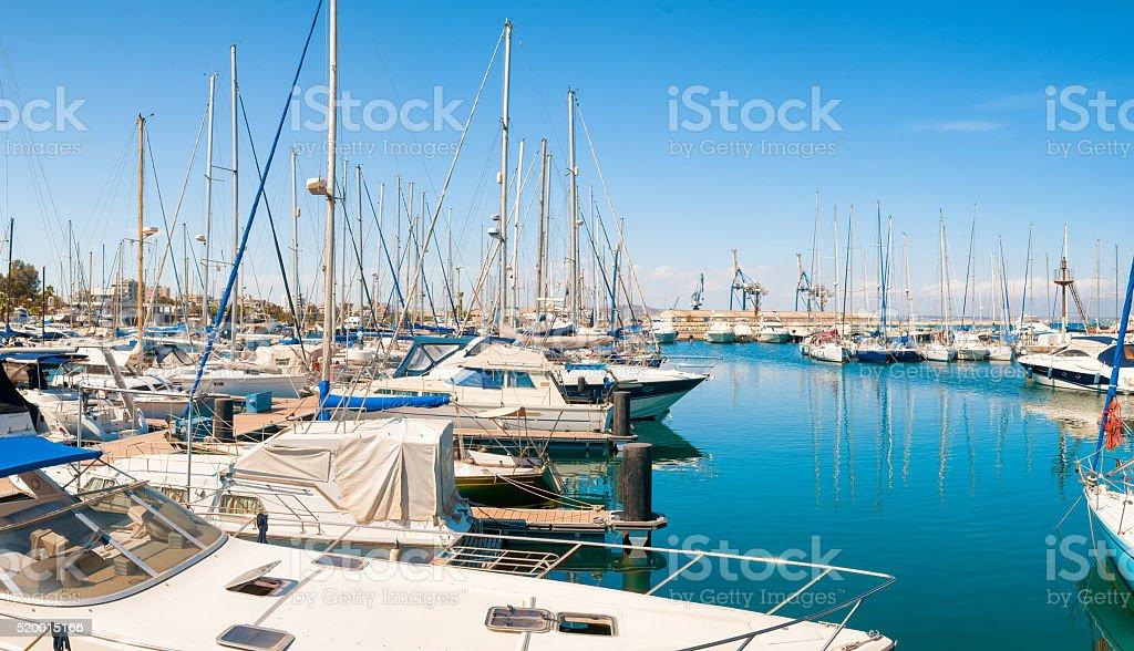 Panoramic view of Larnaca marina. Cyprus stock photo