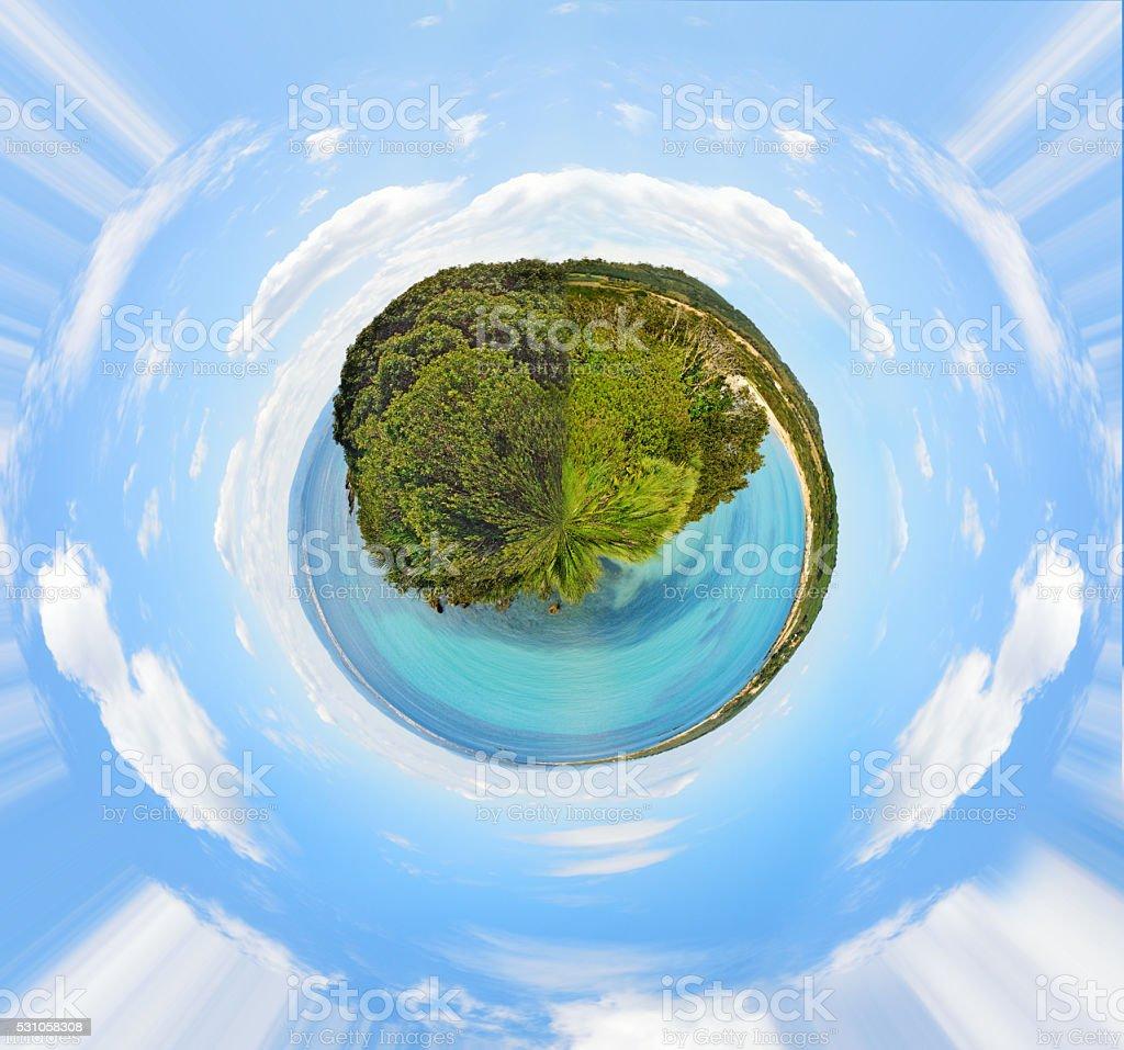 panoramic view of Lazzaretto beach 360 stock photo