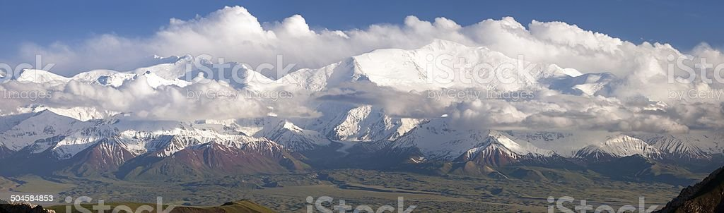Panoramic view of Lenin Peak from Alay stock photo